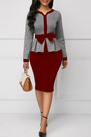 Houndstooth Print Bow Long Sleeve Dress