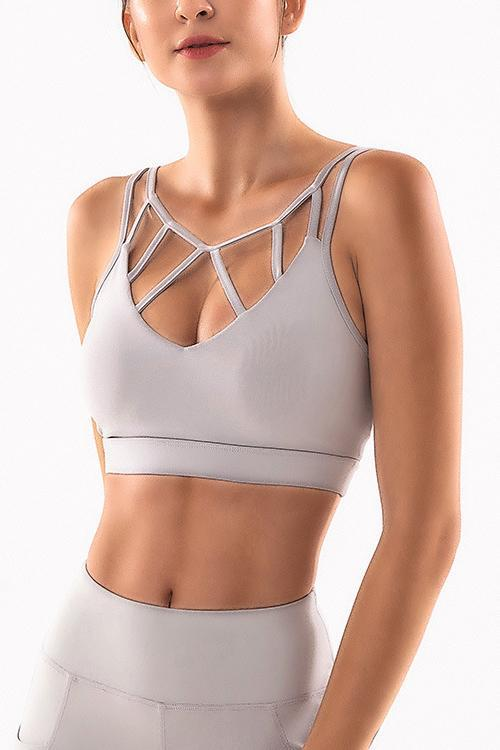 Solid Hollow Bra