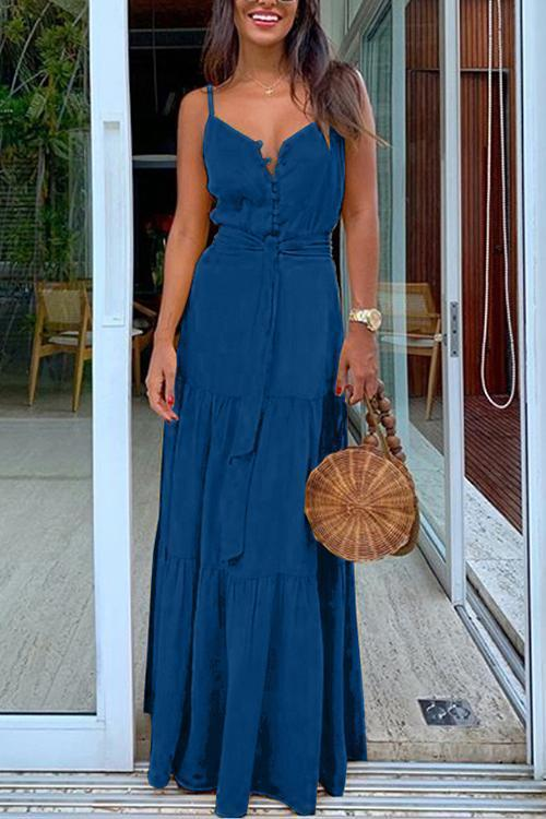 Button Belted Slip Maxi Dress