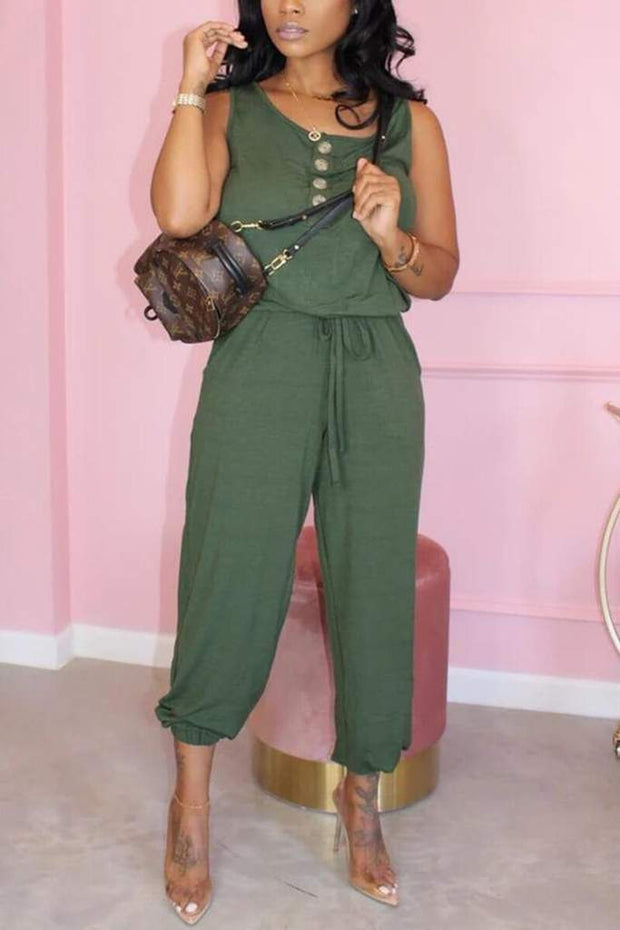 Button Drawstring Sleeveless Jumpsuit