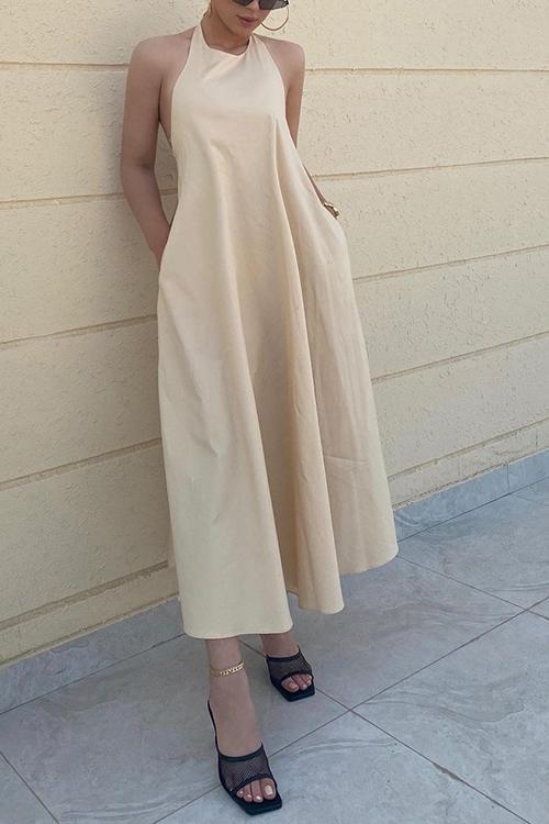 Pockets Halter Neck Backless Maxi Dress
