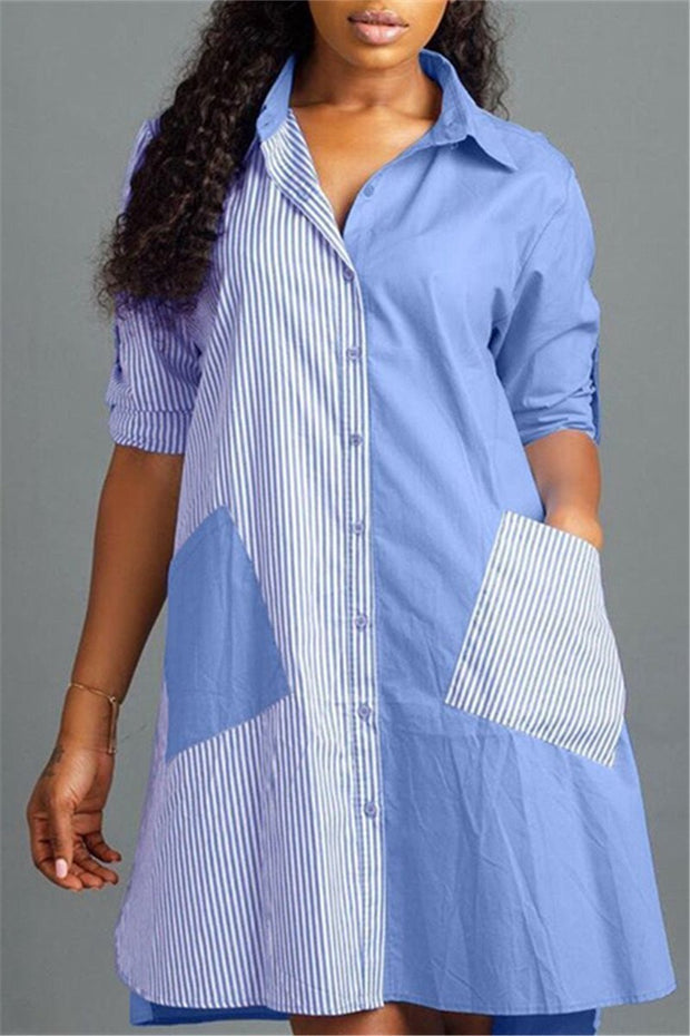 Stripe Pockets Button A Line Shirt Dress