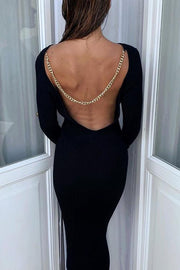 Chains Backless Knit Bodycon Dress