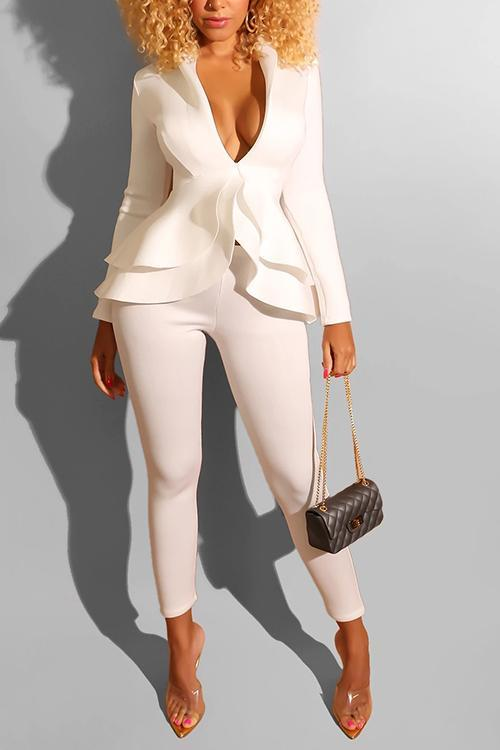 Flounced Deep V Neck Pants Set
