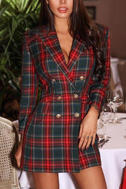 Double Breasted Plaid Blazer Dress