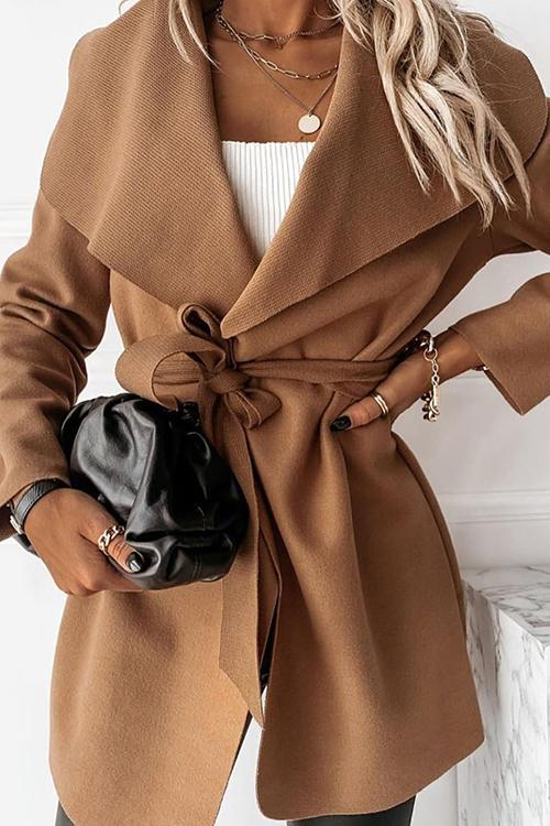 Pockets Lapel Bleted Coat