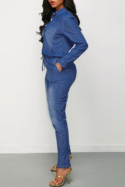 Button Drawstring Long Sleeve Denim Jumpsuit