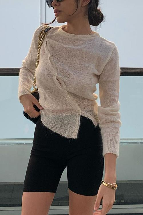 Irregularity Button O Neck Sweater