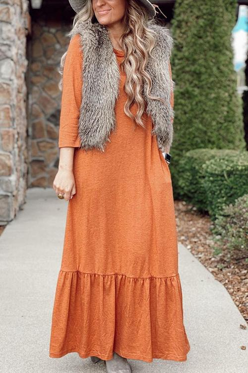 Ruffles Hem Pcokets Maxi Dress