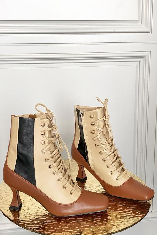 Vintage Zipper Lace Up Boots