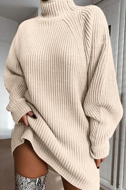 High Collar Puff Sleeve Mini Sweater Dress