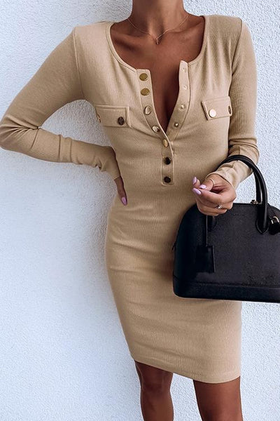 Button Long Sleeve Mini Dress