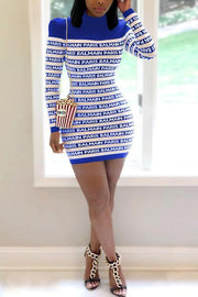 Letter Print Long Sleeve Bodycon Mini Dress