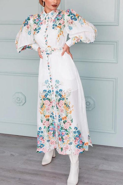 Baroque Floral Print Puff Sleeve Maxi Dress