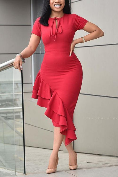 Ruffles Asymmetry Bodycon Dress