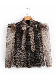 Leopard Print Bow Tied T Shirt