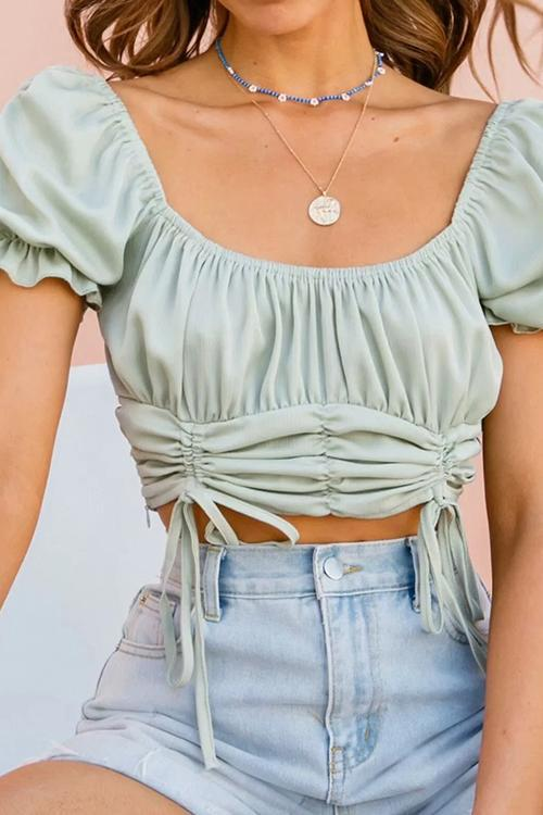 Drawstring Short Sleeve Crop Top