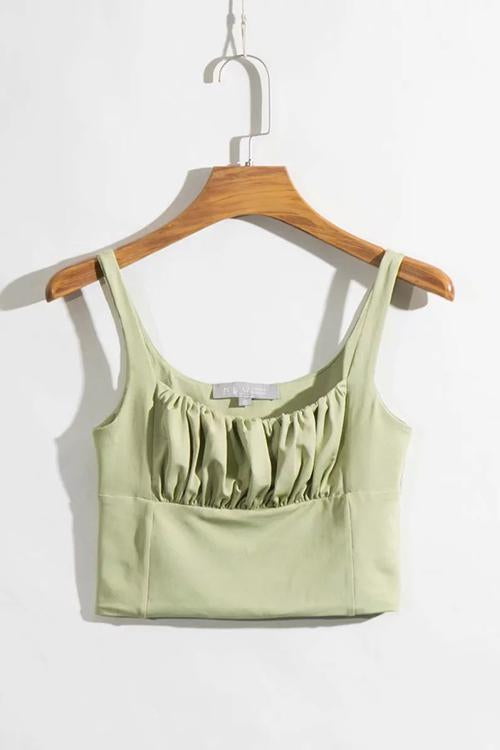 Pleated Sleeveless Tank Top