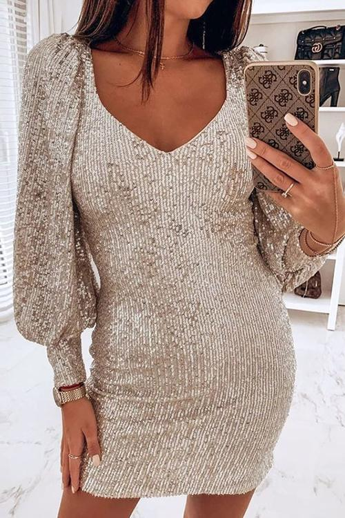 Sequin V Neck Long Sleeve Bodycon Mini Dress