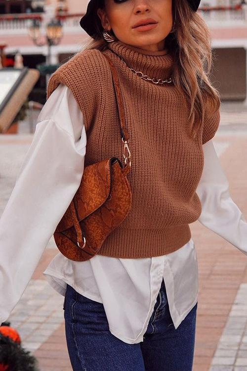 High Collar Sleeveless Sweater