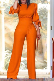 Solid Color Tie Up Pants Set