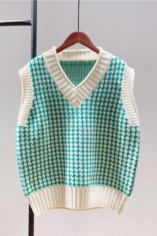 Houndstooth V Neck Vest