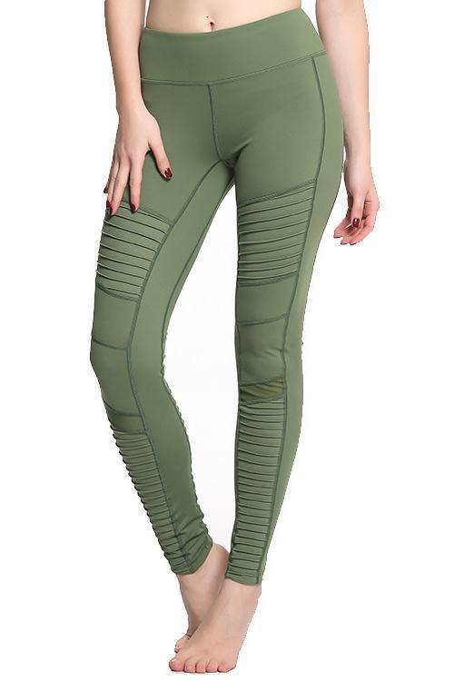 Pleated Mesh Patchwork Leggings