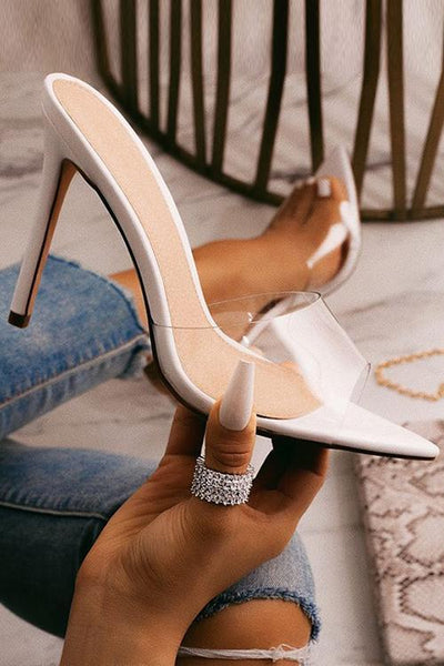Clear Pointed Toe High Heel Sandals