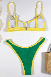 Color Block V Neck Bikini Set