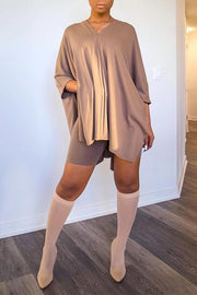 Batwing Sleeve V Neck Solid Short Set