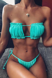Pleated Hollow Bikini Set