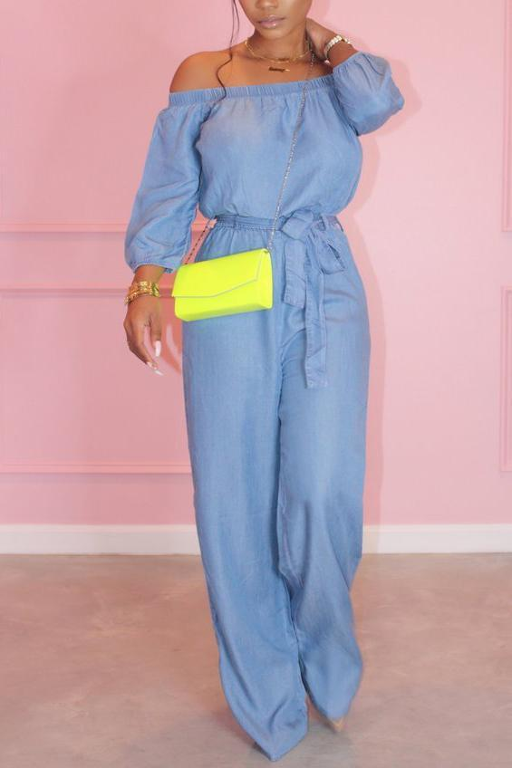 Off The Shoulder Solid Color Belted Jumpsuit