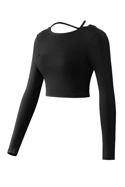 Backless Long Sleeve Crop T Shirt