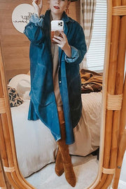 Button Pockets Denim Trench Coat
