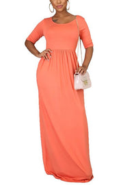 Solid Pockets Half Sleeve Maxi Dress
