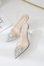 Rhinstone High Heel Clear Sandals