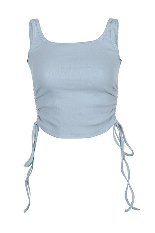 Drawstring U Neck Tank Top