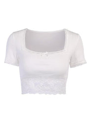 Lace Patchwork Square Neck Crop T Shirt