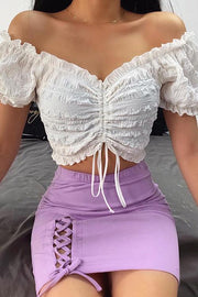 Drawstring V Neck Crop Top