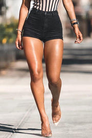 High Waist Black Denim Shorts