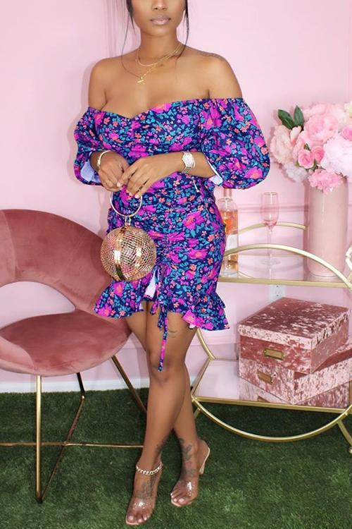 Off The Shoulder Floral Print Ruffled Dress