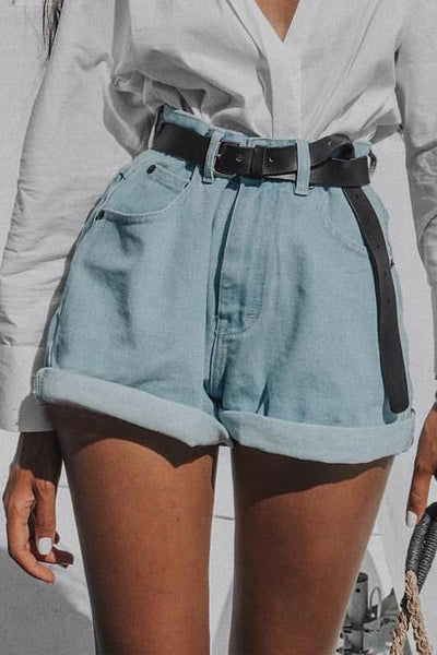 High Waist A Line Denim Shorts