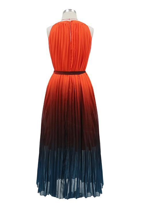 Gradient Sleeveless Pleated Maxi Dress