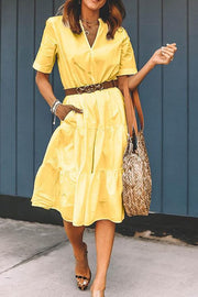 Pockets V Neck A Line Dress