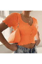 BUtton Short Sleeve Crop Top