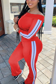 Beauty Neck Zipper Jackets Pants Set