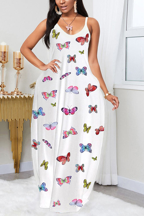 Butterfly Print Slip Maxi Dress
