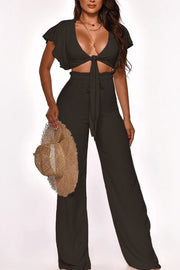 Solid Flared Sleeve Tie Up Crop Pants Sets