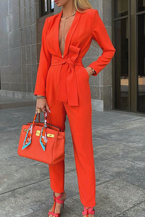 Lace Up Lapel Deep V Neck Jumpsuit