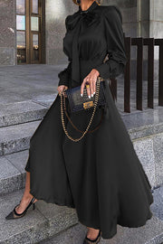 Bow Neck Puff Sleeve Maxi Dress